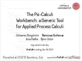 The title slide of the presentation A Parametric Tool for Applied Process Calculi