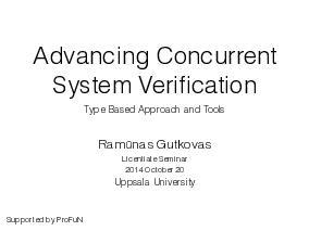 The title slide of the presentation Advancing Concurrent System Verification