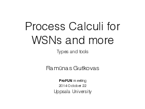 The title slide of the presentation Process Calculi for WSNs and more