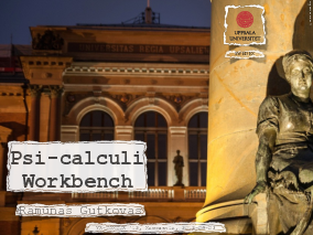 The title slide of the presentation Psi-Calculi Workbench